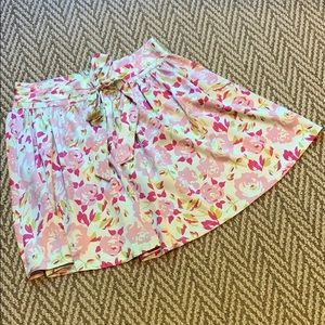 Pink and pale blue flowered skirt with bow